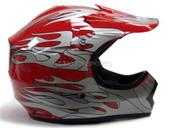 YOUTH RED FLAME MOTOCROSS HELMET ATV DIRTBIKE MX GEAR