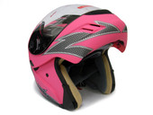 FLAT PINK FLIP UP FULL FACE MOTORCYCLE MODULAR HELMET