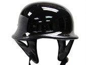 DOT German Gloss Black Motorcycle Half Helmet Biker