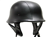 DOT German Black LEATHER Motorcycle Half Helmet Biker