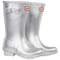 A pair of Hunter Original Kids Metalic Silver Wellington Boots