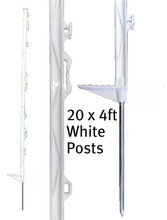 20 x 4ft Electric Fence Poly Posts in white