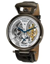 Stuhrling Emperors Grand DT Dual Automatic Diamond Skeleton Moon / Sun Mens Watch 127A2  33F52