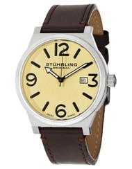 Stuhrling Osprey Swiss Quartz Date Leather Mens Watch 454 3315K15