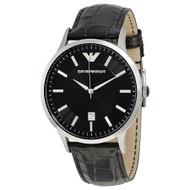 Emporio Armani AR2411 Classic Quartz Date Black Leather Mens Watch