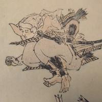 8M124 Woodblock Print with Frame Benkei