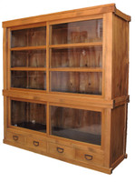 6E3 2 Section Store Glass Display Tansu
