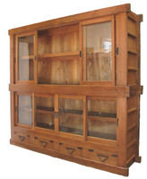 6E4 2 Section Store Glass Display Tansu