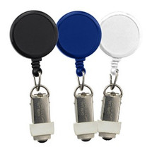 "No slot on your ID badge, but you still want a reel? This badge reel with card clamp is your answer. The card is held securely in place, no slot necessary. It is also customizable with a company logo on a larger imprint area.  Cord measures 34"". Minimum quantity of 25. Product also known as: 905-IK6-BLK, 905-IK6-C"