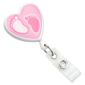 baby footprints badge reel, 2120-7632