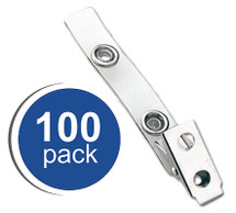 "Clear Vinyl Badge Clips with 2-3/4"" Vinyl Strap,  100 Clips"
