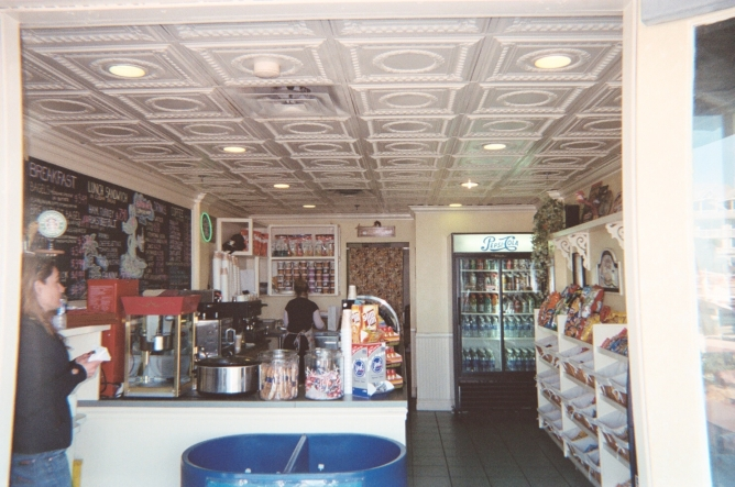 There Tin Ceiling Tiles are installed a small cafe in Key West Florida right by the ocean.