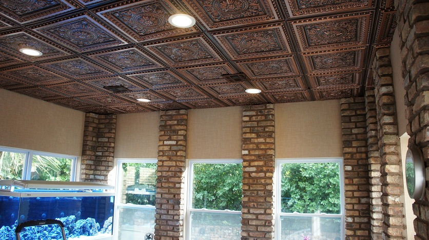 An image of a room with lots of windows and our 223 Faux Tin Ceiling Tile in Antique Coper.