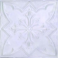 2452 Aluminum Ceiling Tile in Mother of Pearl finish is available in drop in or nail up application and can be purchased at www.decorativeceilingtiles.net