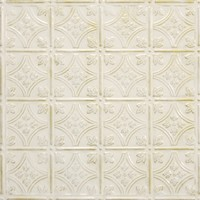 0604 Princess Victoria in White Washed Gold is a metal panel that can be used on walls or ceilings. Comes in 75 finishes.