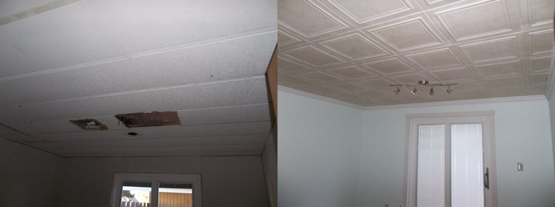 before and after shot of a room where before was an ugly ceiling and now is a beautiful one.