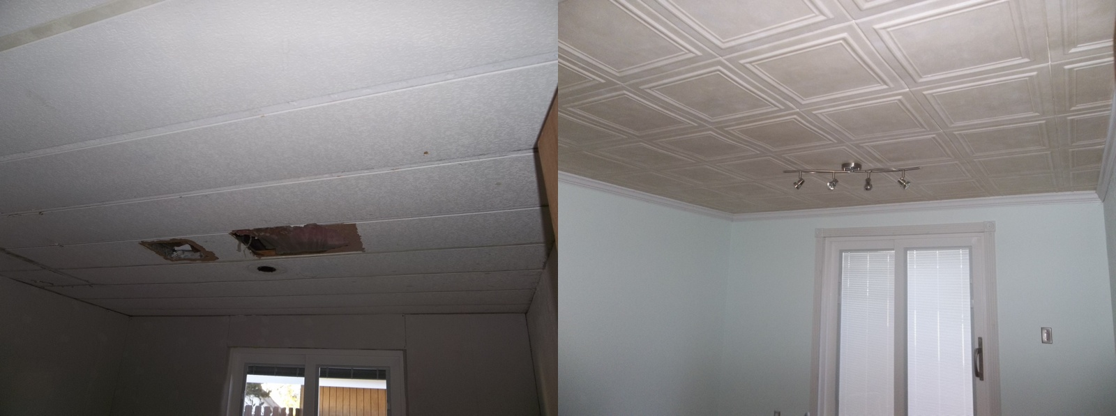 Spray painting ceiling tiles