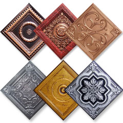 6 drop in faux tin ceiling tiles in Antique Silver, Silver, Copper, Antique Copper and Antique Gold.