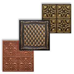 Faux ceilings category image with 3 tiles in copper, antique gold and antique brass.