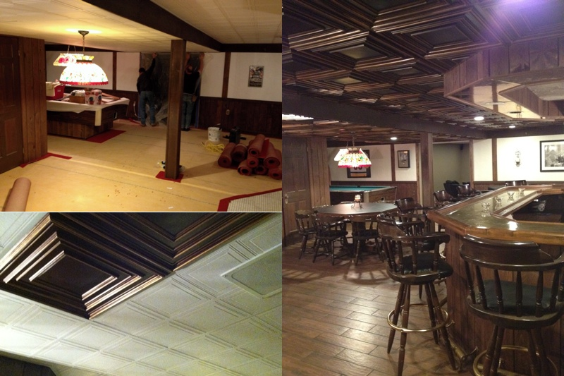 Images of before and after basement with decorative ceiling tiles, hardwood floors and wooden beams.
