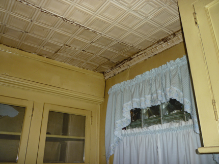 An image of an old tin ceiling in a Victorian Home in New Jersey.