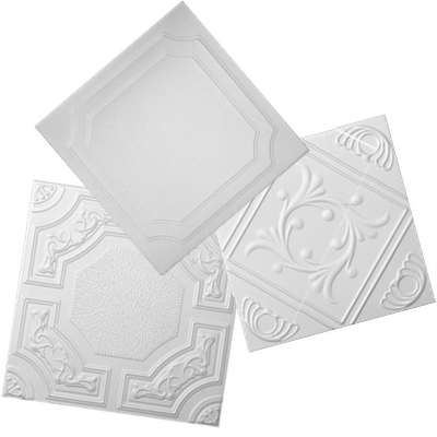 3 decorative styrofoam ceiling tiles layered on top of each other