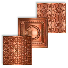 A collage of images of polished copper ceiling tiles made into one .