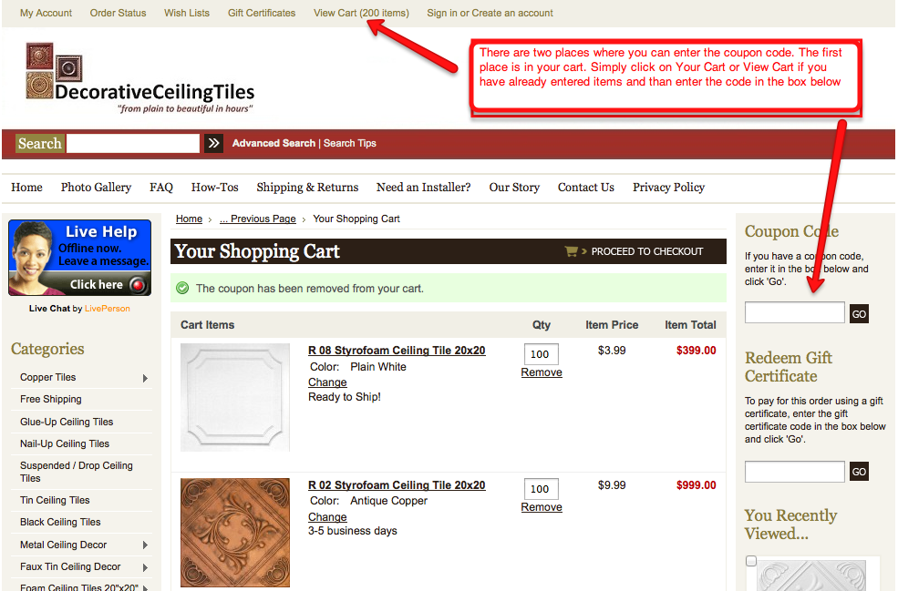 Screeshot showing where to enter coupon codes at decorative ceiling tiles.