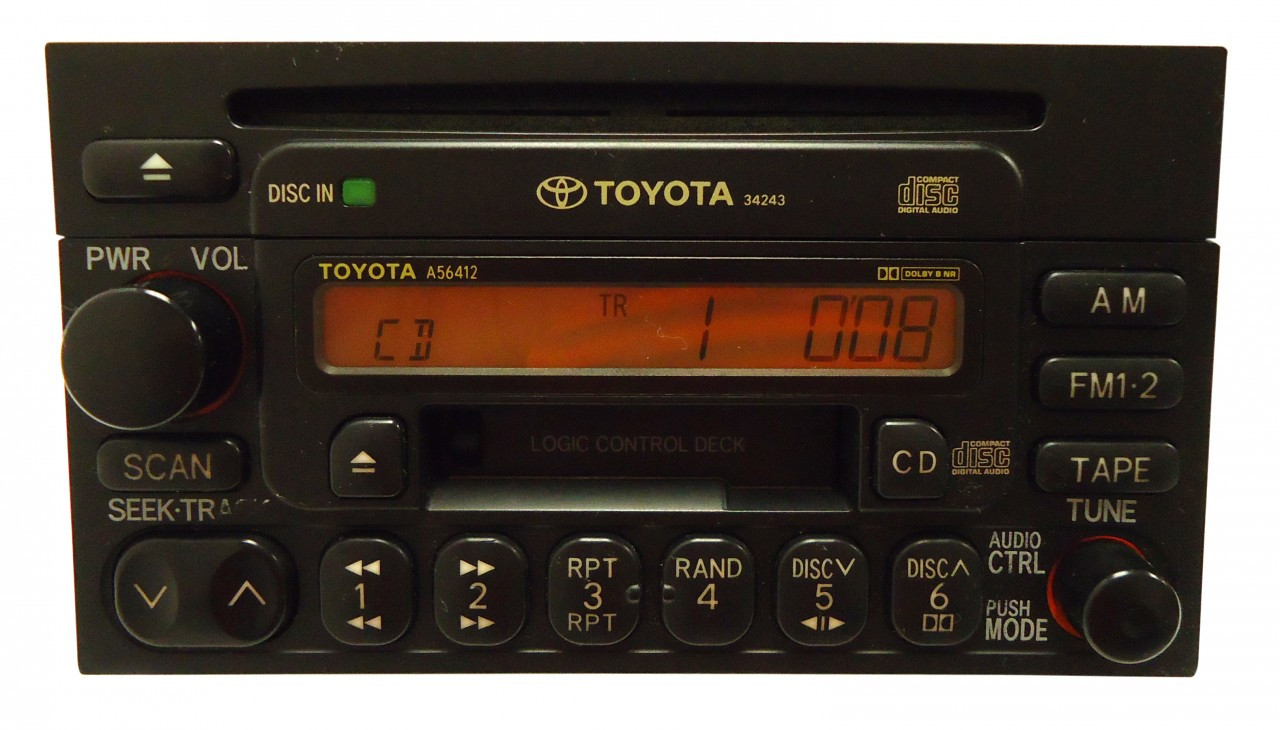 Toyota Am Fm Radio Cassette Tape Cd Player A56412 4runner Avalon Camry Celica Mr2 Seuoia Solara Sienna Ta a Tundra T100 1990 1991 1992 1993 1994 1995 1996 1997 1998 1999 on toyota tundra dvd