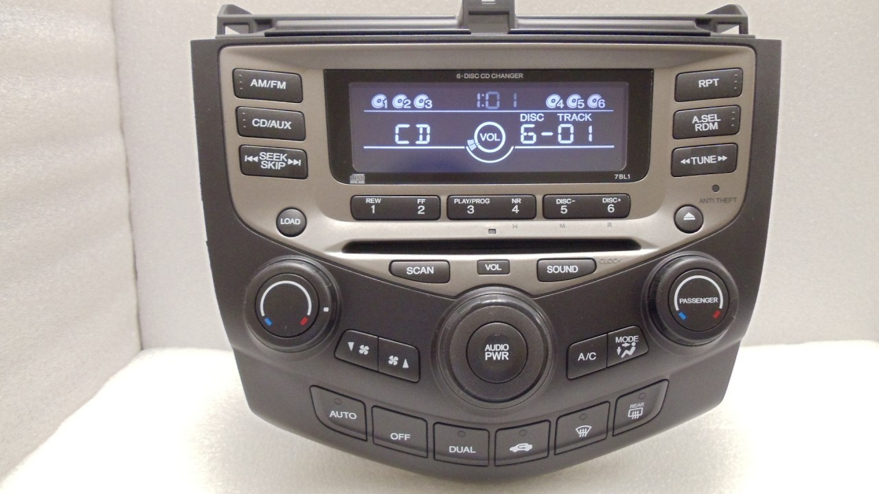 7bl1 2003 honda accord ex l radio 6 disc changer cd player. Black Bedroom Furniture Sets. Home Design Ideas