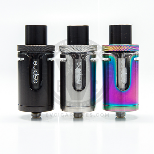 The Aspire Cleito EXO is available in Black, Silver (Stainless Steel), and 7-Color Rainbow.