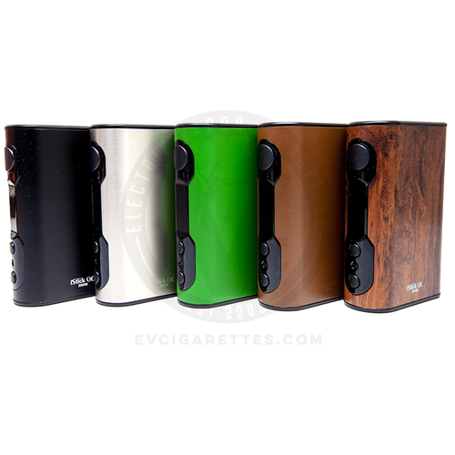 The Eleaf iStick QC MOD is available in such stylish colorways as Black, Silver, Green, Brown, and Wood Grain
