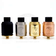 The Reload RDA is available in copper, brass, or stainless steel in either a matte black or bare steel finish.