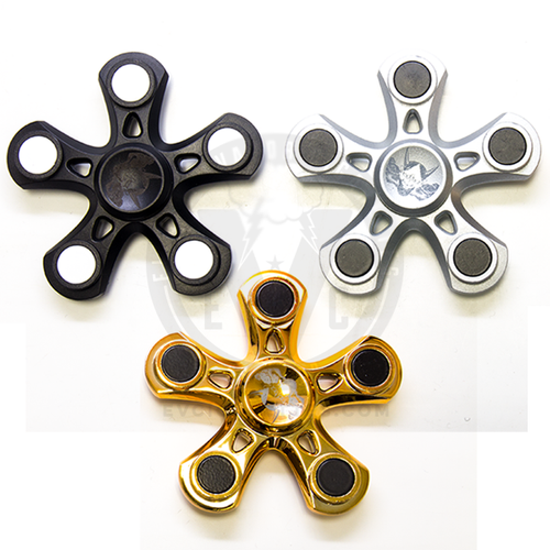 The straight-armed five-point Oni Fidget Hand Spinner in Black, Silver, and Gold.