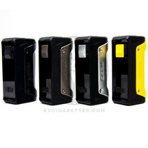 The Aegis MOD by GeekVape is available in: Black with Black and Red Leather Gunmetal with Grey Camo Leather Silver with Brown Leather Yellow with Black and Yellow Leather