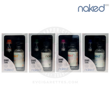 The Naked 100 E-Liquid & Ohmie Sub-Ohm Tank Atomizer Bundle is available with Green Blast (Green), Amazing Mango (Orange), Hawaiian POG (Pink), & Very Berry (Blue).