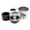 The Flawless AF RDA features a unique build deck with extra large post holes perfect for wide wires and chucking coils.