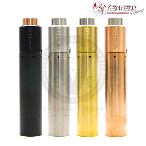 The bundle of the Roundhouse 2 Mech MOD by Purge Mods & the Trickster RDA by Kennedy Vapor is available in Black, Bare Stainless Steel, Brass, and Copper.