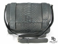 Genuine Python Belly Skin Messenger Bag Black [PYNMB004B3BK01M-L]