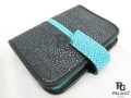 Genuine Polished Stingray Skin Card Holders Black & Blue [SRCH008BU03P]