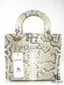 Genuine Burmese Python Skin Handbag Purse Natural [PYBH035B1NT01M-L]
