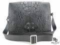 Genuine Crocodile Skin Messenger Bag Black [CRHMB005BK01M]