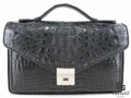 Genuine Caiman Crocodile Hornback Small Briefcase Black [CMBF002BK01]