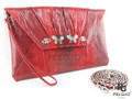 Genuine Red Sea Snake Skin Evening Bag Purse [SEH006RD01G]