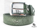 "Genuine Polished Stingray Skin Green Men's Belt 46"" Long [SRB0115D1GN02P]"