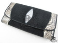Genuine Stingray & Python Skin Clutch Wallet Black [MXL001X001]