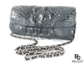 Genuine Crocodile Hornback Skin Leather Clutch Bag & Shouldber Bag Black [8859322419791]