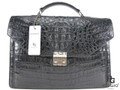 Genuine Caiman Crocodile Hornback Soft Briefcase Black [CMBF001BK01]