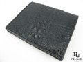 Genuine Caiman Hornback Skin Men's Wallet Black [CMHK001BK01]