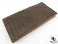 Genuine Caiman Hornback Skin Checkbook Wallet Brown [CMCB001BR04]